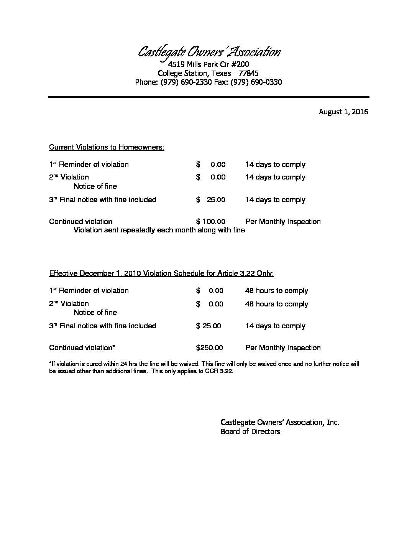 Violation Fee Schedule Revised – Castlegate HOA